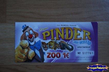 Ticket du Cirque Pinder