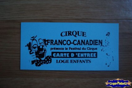 Ticket du Cirque Franco Canadien