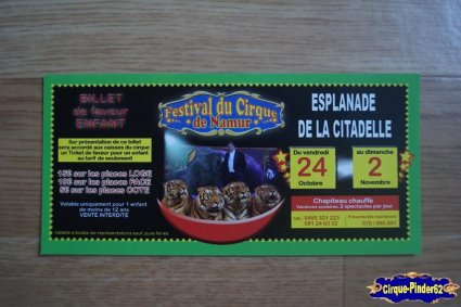 Bon de réduction du Festival du Cirque de Namur-2014
