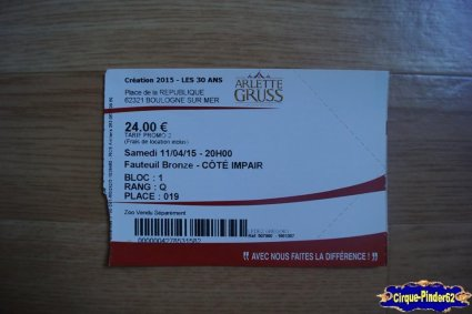 Ticket du Cirque Gruss (Arlette)-2015
