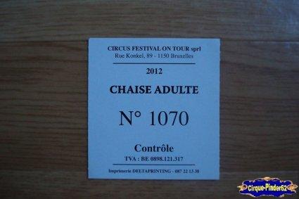 Ticket du Festival Circus Show-2012