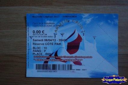 Ticket du Cirque Gruss (Arlette)-2013
