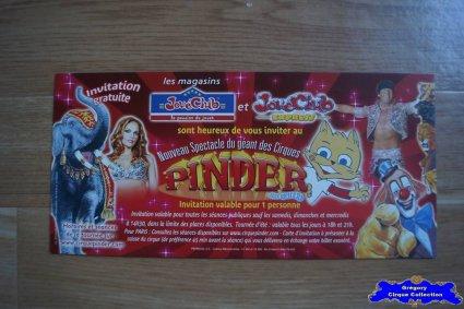 Invitation du Cirque Pinder