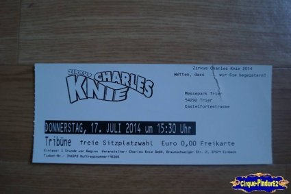 Ticket du Cirque Knie (Charles)-2014