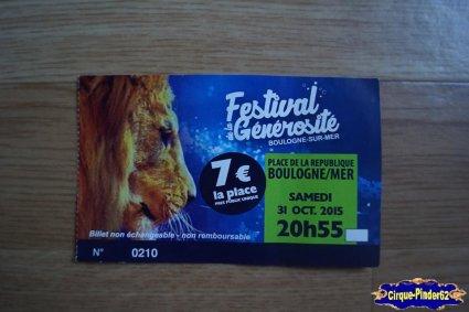 Ticket du Festival de la Générosité de Boulogne sur Mer-2015