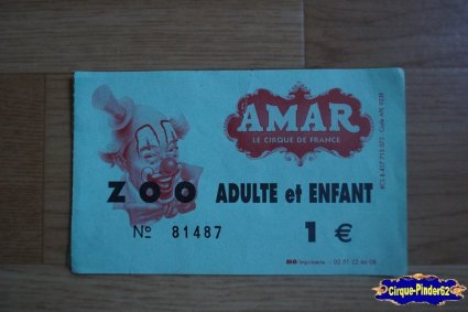 Ticket du Cirque Amar