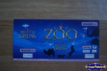 Ticket du Cirque Gruss (Arlette)