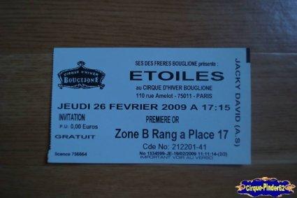 Ticket du Cirque Bouglione (Cirque d'Hiver)-2009