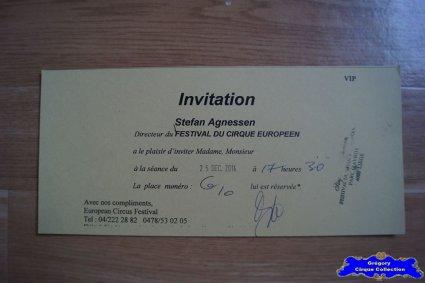 Invitation de l'European Circus Festival-2014