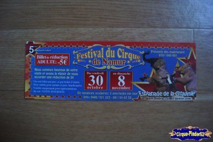 Bon de réduction du Festival du Cirque de Namur-2009