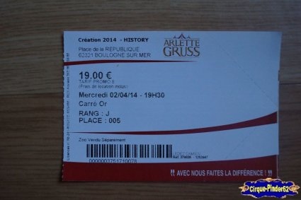 Ticket du Cirque Gruss (Arlette)-2014