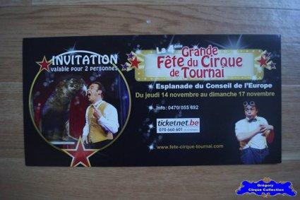 Invitation de La Grande Fête du Cirque de Tournai-2013