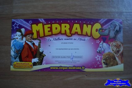 Invitation du Cirque Médrano