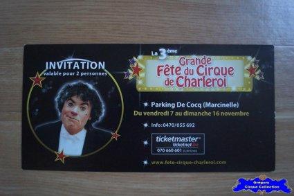 Invitation de La Grande Fête du Cirque de Charleroi-2014