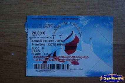 Ticket du Cirque Gruss (Arlette)-2012
