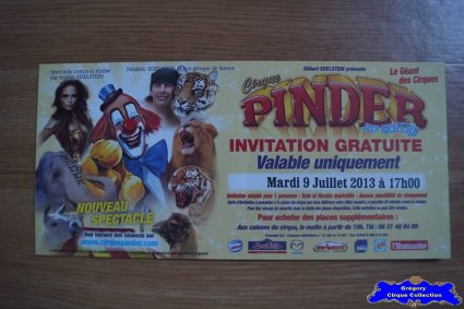 Invitation du Cirque Pinder-2013