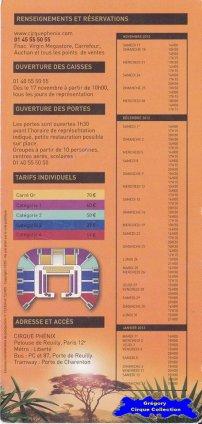 Flyer du Cirque Phénix-2012/2013 (n°1255)