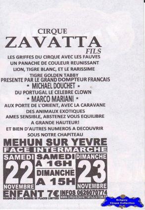 Flyer du Cirque Zavatta (Nicolas)-2014 (n°1292)
