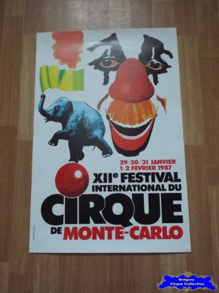 Affiche magasin du Festival International du Cirque de Monte-Carlo-1987 (n°600)