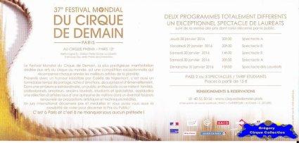 Flyer du Festival Mondial du Cirque de Demain-2016 (n°1301)
