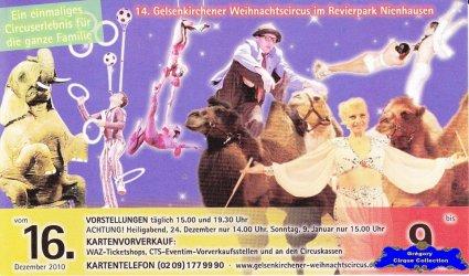 Flyer du Cirque de Noël (Gelsenkirchener Weihnachtscircus)-2010/2011 (n°1339)