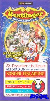Flyer du Cirque de Noël (Reutlinger Weihnachtscircus) (n°1336)