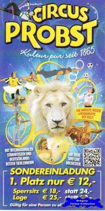 Flyer du Cirque Probst (Circus Probst)-2014 (n°1321)