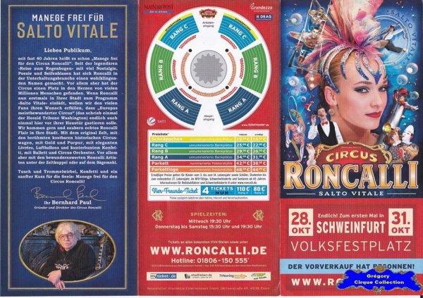 Flyer du Cirque Roncalli (Circus Roncalli)-2015 (n°1331)