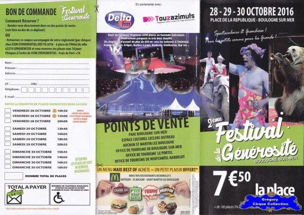 Flyer du Festival de la Générosité de Boulogne sur Mer-2016 (n°1348)