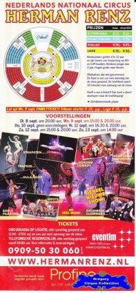 Flyer du Cirque Renz (Circus Herman Renz)-2015 (n°1358)