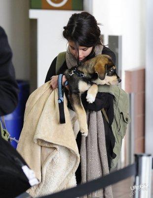 Selena a l'aeroport avec son chien !! <3