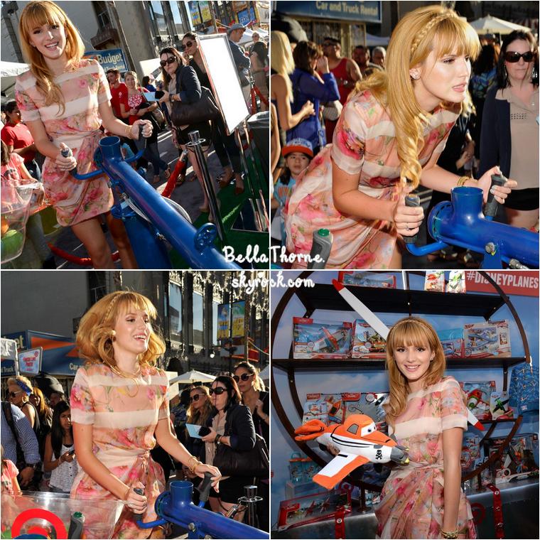 Le 5 août , Bella était à l'avant-première du dernier film d'animation Disney « Planes », à Los Angeles. Je n'adhère pas du tout à sa robe. Si vous voulez refaire sa coiffure, rendez-vous ici !