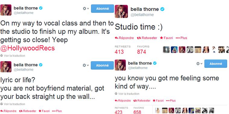 Le 16 FÉVRIER 2014   Le 16 février, Bella et son soutien-gorge ont été aperçus alors qu'ils se rendaient tout deux à un studio d'enregistrement à Los Angeles.   Bella devait en effet finir d'enregistrer ses chansons. Je pense que sans  le soutien-gorge apparent, la tenue aurait pu être sympa, mais   là c'est un peu vulgaire.