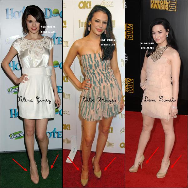 .      Quand Chloe, Demi Lovato & Selena Gomez ont des goûts communs           Mais à laquelle de ces (jolies ?) brunes ces chaussures vont-elles le mieux ?   .