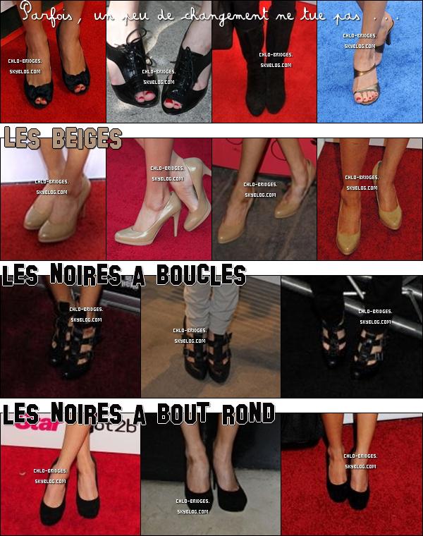 .    FAITES COMME CHLOE : RECYCLEZ !       ___En effet, originalité n'est pas le maître mot qui caractérise les tenues de Chloe. Et voici aujourd'hui une nouvelle preuve de cette affirmation, qui se présente sous la forme des chaussures de miss Bridges. Alors, bien sûr, il lui arrive de changer, mais le résultat n'est pas vraiment à la hauteur ...   .  QUELLE PAIRE PRÉFÈRES-TU ? .