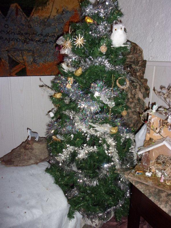 cette année , la déco de Noël est plus modeste, sans boules ni poupées, cela craint trop avec notre diable de Tasmanie, j'espere que l'année proochaine il sera plus calme!