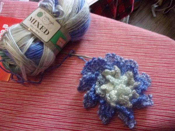 ie laisse tomber momentanément les aiguilles pour le crochet, mon nouveau dada, les fleurs au crochet; voici ma première en cours de réalisation, vive youtube!
