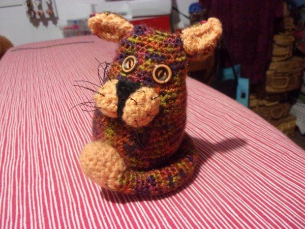 un petit chat tout bigarré, je m'amuse bien en crochetant des amigurumis!