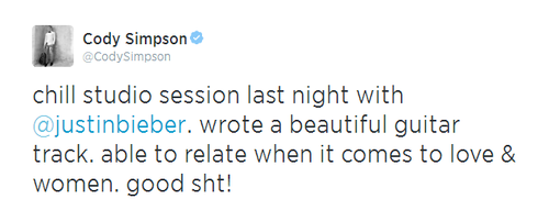 Cody Simpson tweet