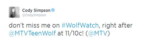 ne me manquez pas sur # WolfWatch, juste après @ MTVTeenWolf à 11/10c! (@ MTV)