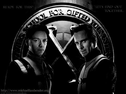 X-MEN FIRST CLASS James MCavoy as Charles Xavier and Michael Fassbender as Erik