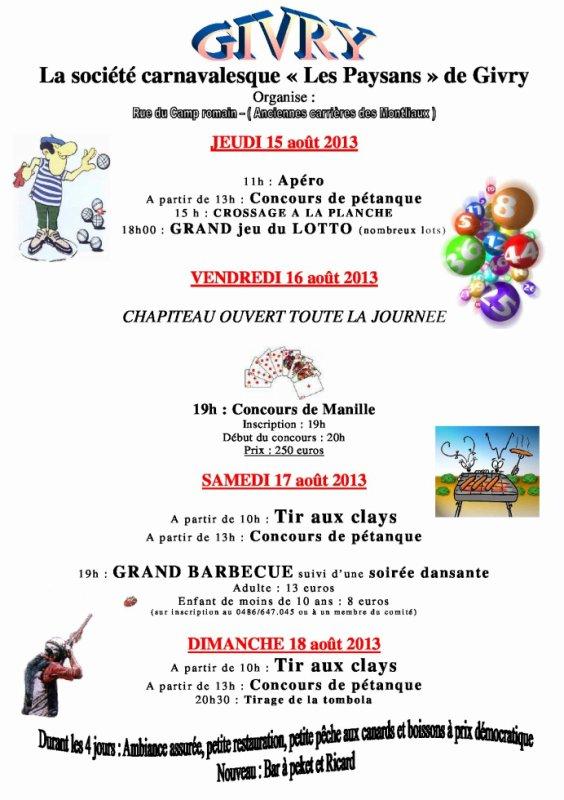 Programme du week end du 15 aout 2013