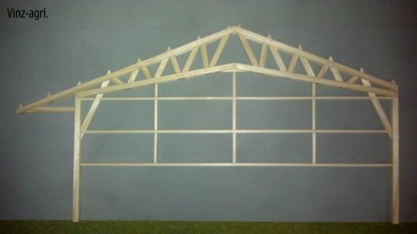 hangar bois 1/32 avec ferme triangulée et avançée.