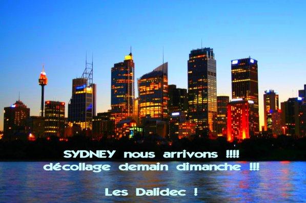 Décollage dimanche 12 décémbre pour Sydney !!