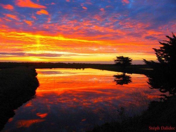 levé du soleil en hiver sur l'île de Ré ....