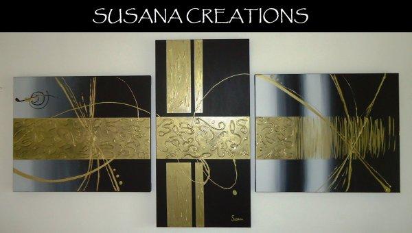 Tableau design noir or 2 blog de susana creations artiste peintre - Tableau noir craie grand format ...