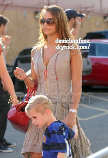 Daniela arrived at Old Trafford with Hayley Fletcher and her twin sons