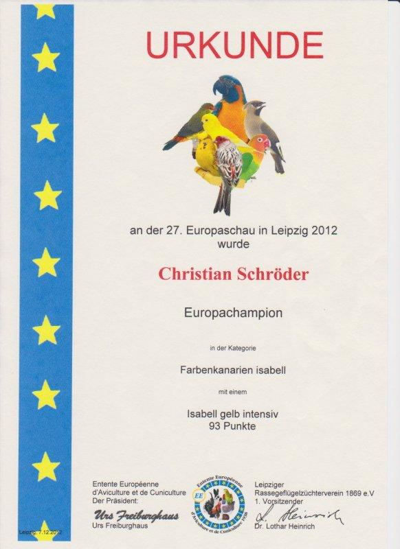 EE - Europameisterschaft Vögel 2012 in Leipzig