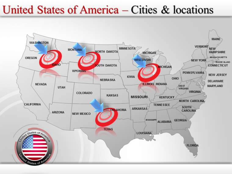 Online Download Editable Powerpoint Map of USA