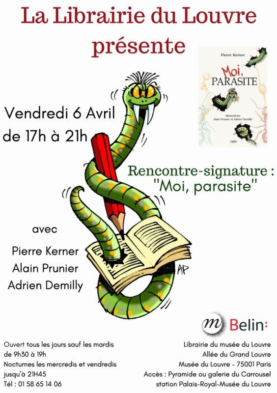 Affiche de dédicace du livre au Louvre